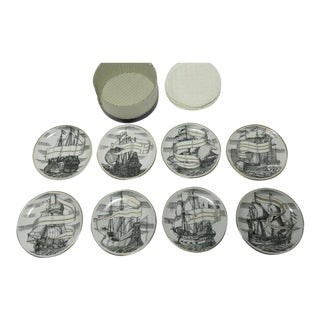 "1950s Piero Fornasetti for Bonwit Teller Tall Ships ""Velieri"" Porcelain Coasters - Set of 8 For Sale"