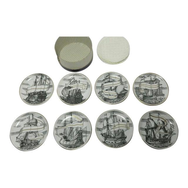 "1950s Piero Fornasetti for Bonwit Teller Tall Ships ""Velieri"" Porcelain Coasters - Set of 8 For Sale"