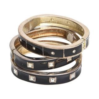 Enamel and Rhinestone Bangle Bracelets - Set of 3 For Sale