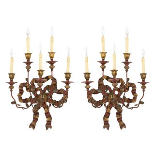 Vintage Painted & Giltwood Bow Sconces - A Pair
