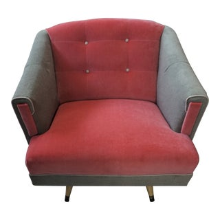 1950s Vintage Sage and Coral Velvet Swivel Lounge Chair For Sale