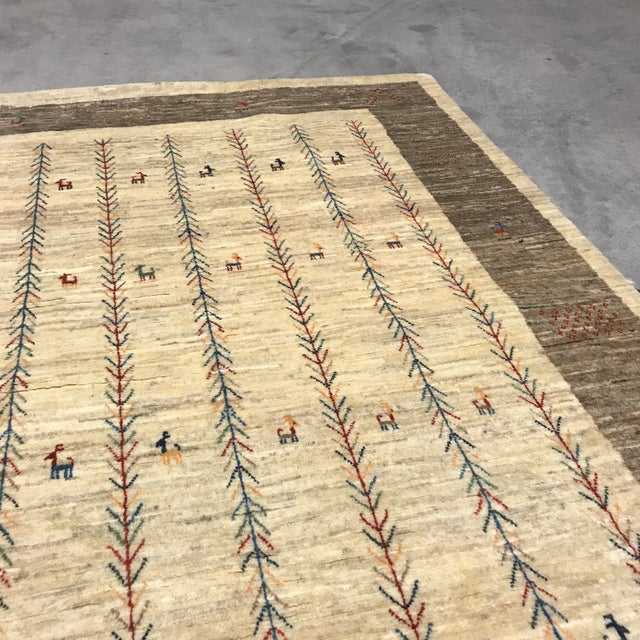 Vintage Persian Gabbeh Rug - 4'1 X 5'4 - Image 5 of 10