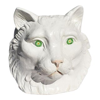 Hollywood Regency White and Green Italian Glazed Ceramic Animalia Cat Head Planter For Sale