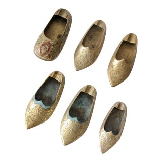 Vintage Brass Slipper Shoes Single Ashtrays - Set of 6