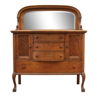 1900s Country Oak Mirror Back Sideboard Buffet For Sale