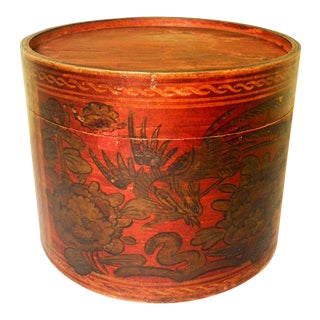 Antique Chinese Bamboo Hat Box For Sale