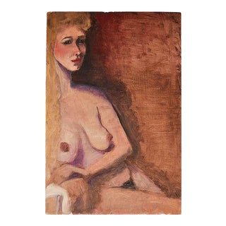 """Tall Portrait Painting of a Nude Blonde Woman in Orange and Brown - 12"""" X 18"""" For Sale"""