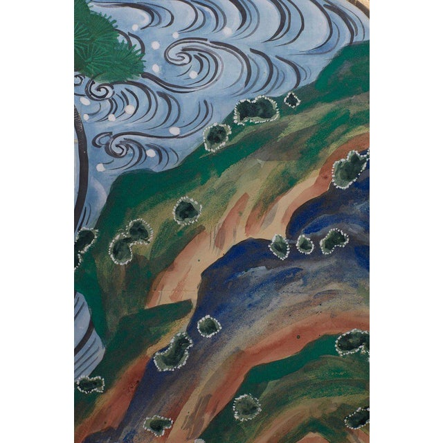 Japanese Six Panel Screen of Cranes by the Sea For Sale - Image 9 of 13