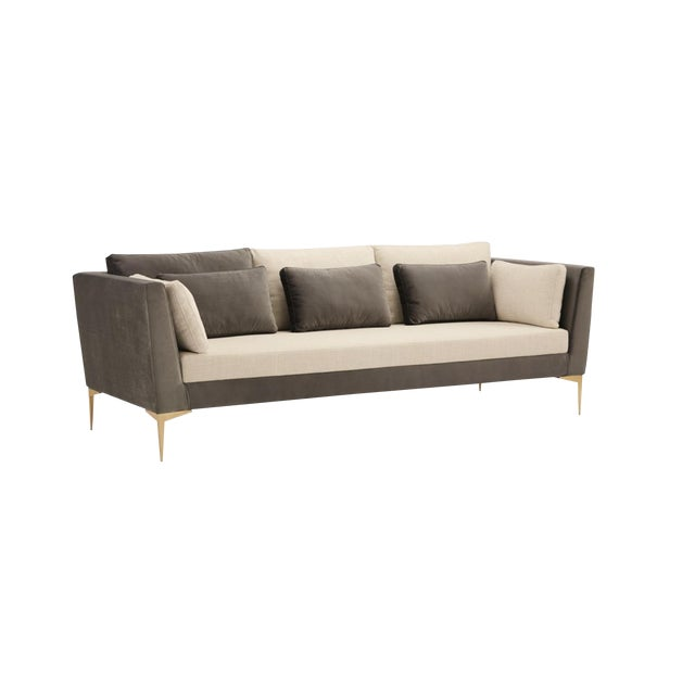 Caracole Mid-Century Modern Style Gray and White Stardust Sofa