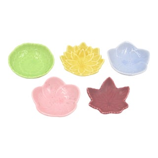 Japanese Arita Porcelain Ceramic Leaf & Petal Plates Small - Set of Five (5)