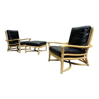 McGuire Bamboo & Leather Lounge Chairs & Ottoman ~ a Pair For Sale