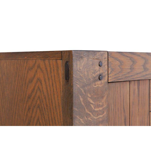 Large Brutalist Credenza in Stained Oak For Sale - Image 10 of 11