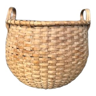 19th Century Splint Harvest Basket For Sale