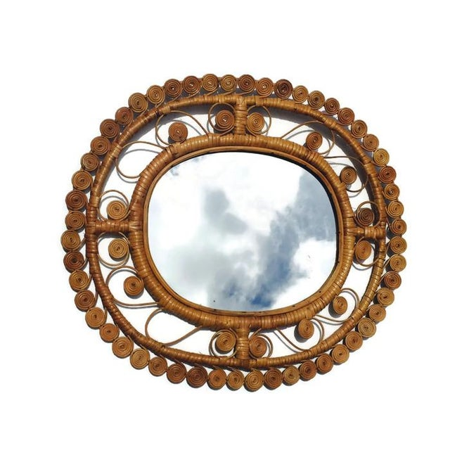 Vintage Rattan & Bamboo Peacock Curl Mirror - Image 7 of 8