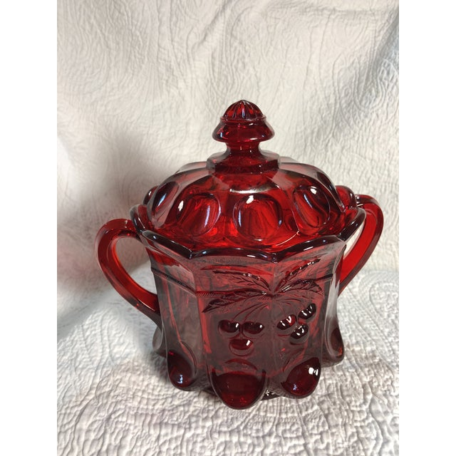 Ruby Red Vintage Moser Glass Cherry & Cable Ruby Spooner Vase With Double Handles For Sale - Image 8 of 8