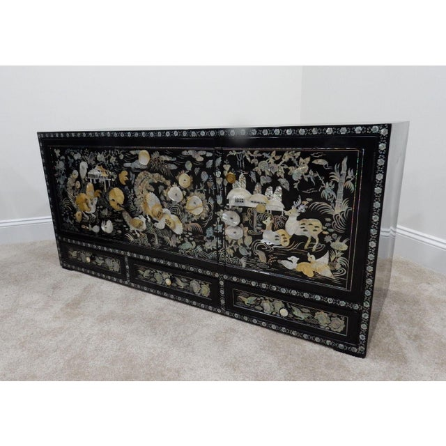 Chinese Mother of Pearl Inlaid Lacquered Cabinet For Sale - Image 9 of 11