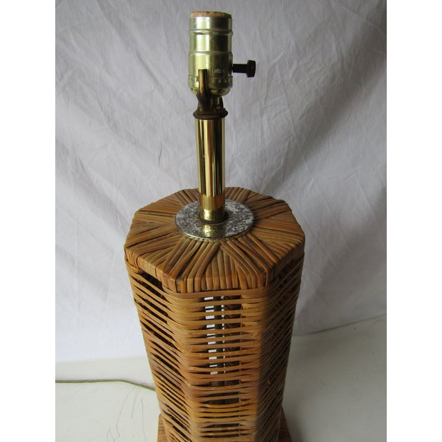 Boho Chic Vintage Unique Tall Woven Rattan 8 Sided Lamp For Sale - Image 3 of 6