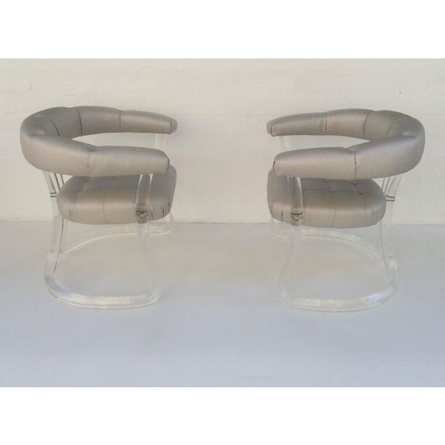 Modern Pair Sculpted Acrylic Armchairs For Sale - Image 3 of 10