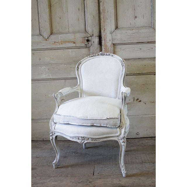 Antique French Country Style Upholstered Linen Open Armchair - Image 2 of 6