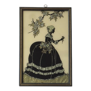 "Art Deco ""Old Fashioned Garden"" Metallic Foil Silhouette For Sale"