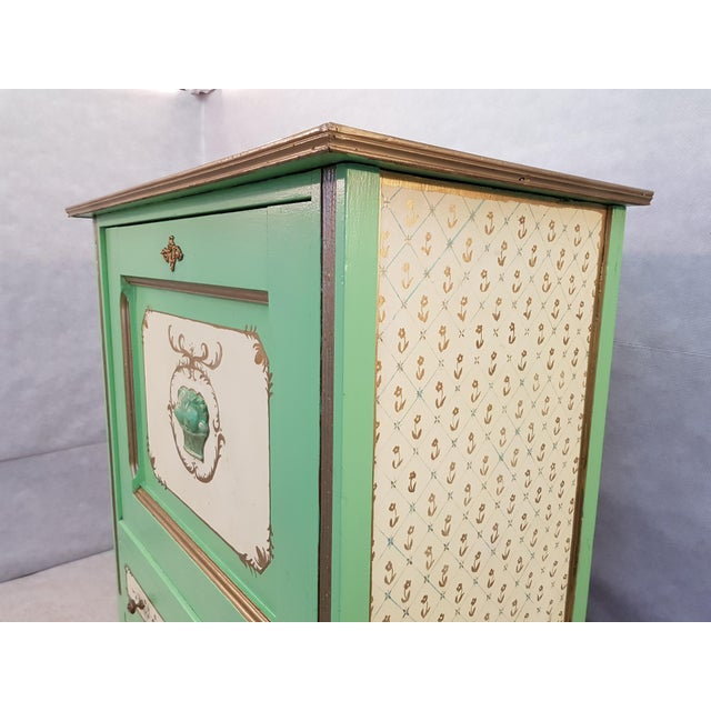 1920s French Antique Early 1920s Handpainted Gilted Imperial Style Charming Secretaire Credenza For Sale - Image 5 of 13