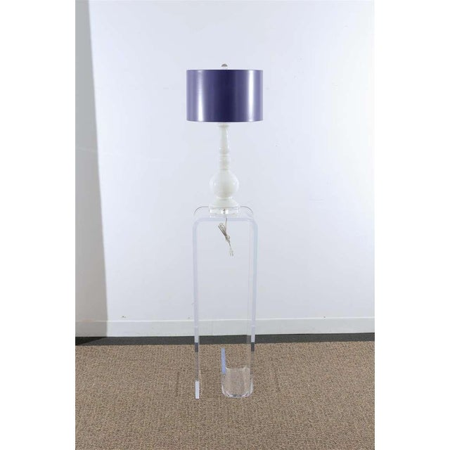 Purple Stellar Pair of Pure White Murano Lamps with Lacquer Shades For Sale - Image 8 of 8
