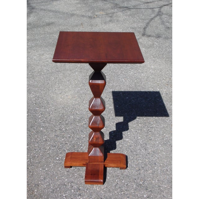 Vintage Mid Century Modern Ethan Allen American Solid Cherry Square Plant Stand Candlestick Accent Table featured in a...