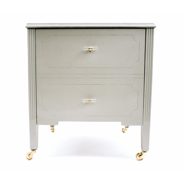 G O R G E O U S ! Vintage Art Deco Record Cabinet || Gray & Gold Wood Rolling Audiophile Lucite Handles Machine Age...