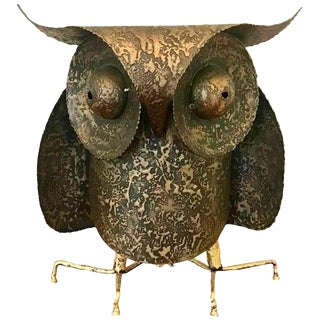 """C. Jere Artisan House Large """"Professor"""" Owl Brutalist Metal Sculpture For Sale"""