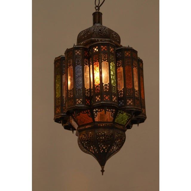 Vintage Moroccan Mamounia Glass Pendant For Sale In Los Angeles - Image 6 of 7