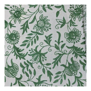 Floral Vine Soft Green and Off White Crewel Decorator Fabric - 7 Yards For Sale