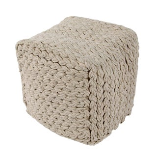 Jaipur Living Kyran Cream Textured Square Pouf For Sale