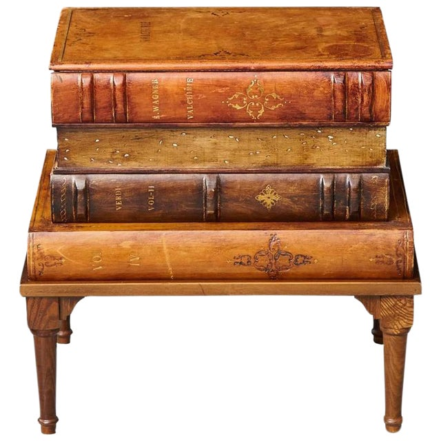 Italian 'Faux Stacked Leather Volume' Low Table For Sale