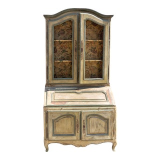 19th Century French Provincial Painted Pine Secretary Cabinet For Sale