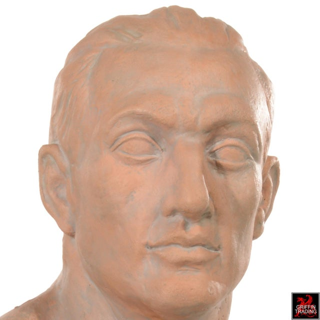 Orange Terracotta Bust of a Man For Sale - Image 8 of 10