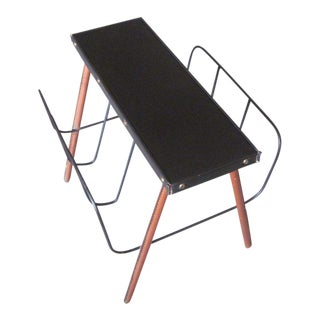 French Hand-Stitched Leather Magazine Stand / Bench by Jacques Adnet