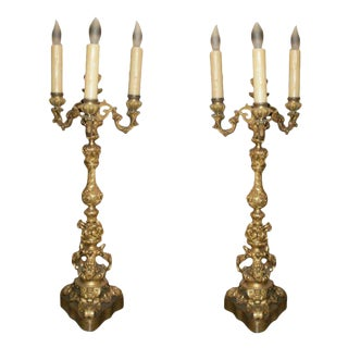 19th Century French Louis XV Style Bronze Candelabras - a Pair