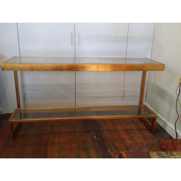 Contemporary Gilt Metal and Glass Console - Image 2 of 6