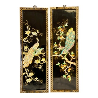 Mid Century Chinoiserie Wood & Mother of Pearl Peacock Wall Panels-a Pair For Sale