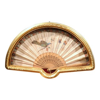18th Century French Hand-Painted Hand Fan in Demilune Gilt Glass Frame For Sale