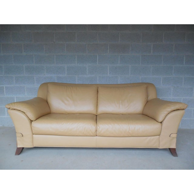 "NATUZZI Italian Leather Sofa 86""W - Image 9 of 9"