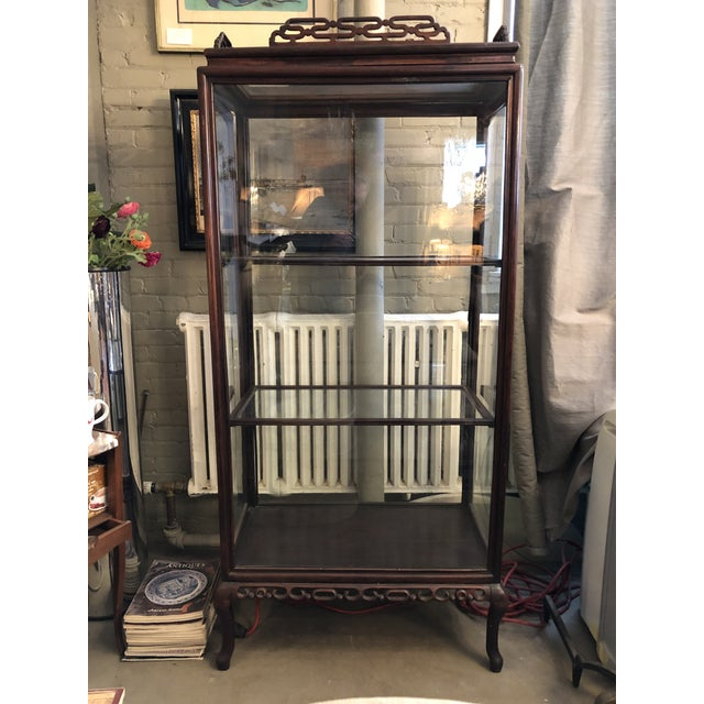 19th Century Chinese Rosewood Hand Carved 3 Shelf Curio Display Cabinet With Two Side Doors For Sale - Image 13 of 13