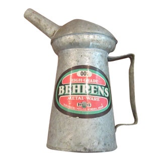 Vintage Unused Behren's 001 1 Quart Oil Dispenser Metal Ware