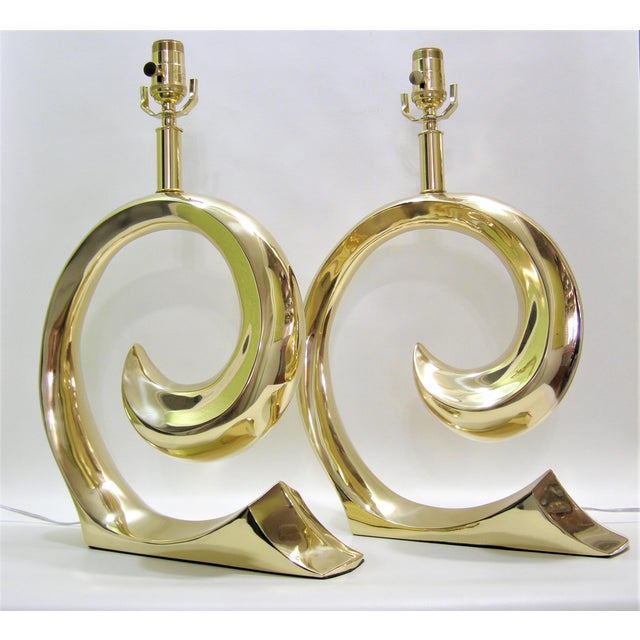 Restored Pierre Cardin Mid-Century Modern Solid Brass Logo Designer Lamps - a Pair Millennial - Image 3 of 11