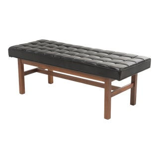 Mid Century Jens Risom Style Walnut Black Vinyl Tufted Bench For Sale