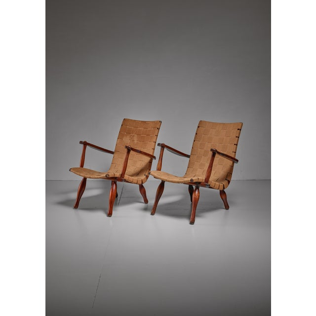 Mid-Century Modern Pair of Lounge Chairs with Webbed Seating, Sweden, 1940s For Sale - Image 3 of 5
