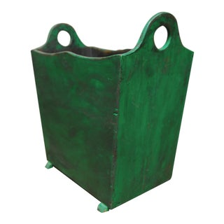 French Painted Wooden Handled Harvest Crate Bin For Sale