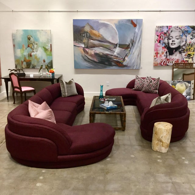 Mid-Century Modern Yin Yang Sectional Sofas by Carsons - 2 Pieces For Sale - Image 3 of 8
