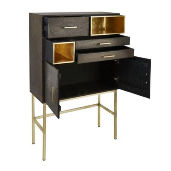 A new modern twist on a bar cabinet with plenty of storage & unique openings. This bar is perfect for any urban setting...