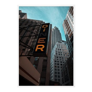 Diner Sign by Alex Iby, Contemporary Photograph in White, Large For Sale